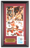 """1980 Team USA """"Miracle on Ice"""" 11x18 Custom Framed Photo Display with Original 1980 Olympics Patch at PristineAuction.com"""