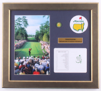 "Tiger Woods ""The Masters"" 16.5x18.5 Custom Framed Photo Display with Official Augusta National Scorecard, Patch & Ball Marker at PristineAuction.com"