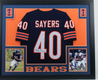 Gale Sayers Signed 35x43 Custom Framed Jersey (PSA COA) (Imperfect) at PristineAuction.com