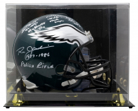 Eagles QB's Full-Size Helmet Signed by (4) with Sonny Jurgensen, Randall Cunningham, Ron Jaworski & Donovan McNabb with Multiple Inscriptions with Display Case (Beckett COA) at PristineAuction.com