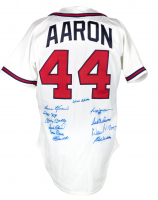 500 Home Run Club Braves Jersey Signed by (11) with Mickey Mantle, Hank Aaron, Ernie Banks, Frank Robinson, Mike Schmidt (PSA LOA) at PristineAuction.com