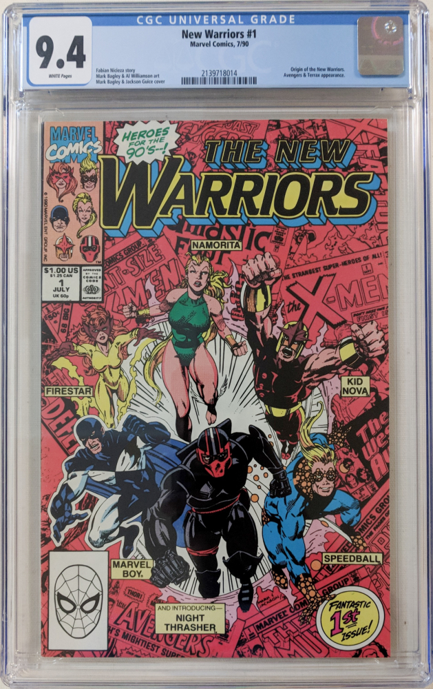 "1990 ""New Warriors"" Issue #1 Marvel Comic Book (CGC 9.4) at PristineAuction.com"