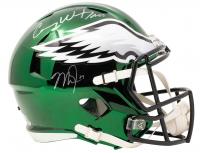 Carson Wentz & Mike Trout Signed Eagles Full-Size Chrome Speed Helmet (Fanatics Hologram & MLB Hologram) at PristineAuction.com