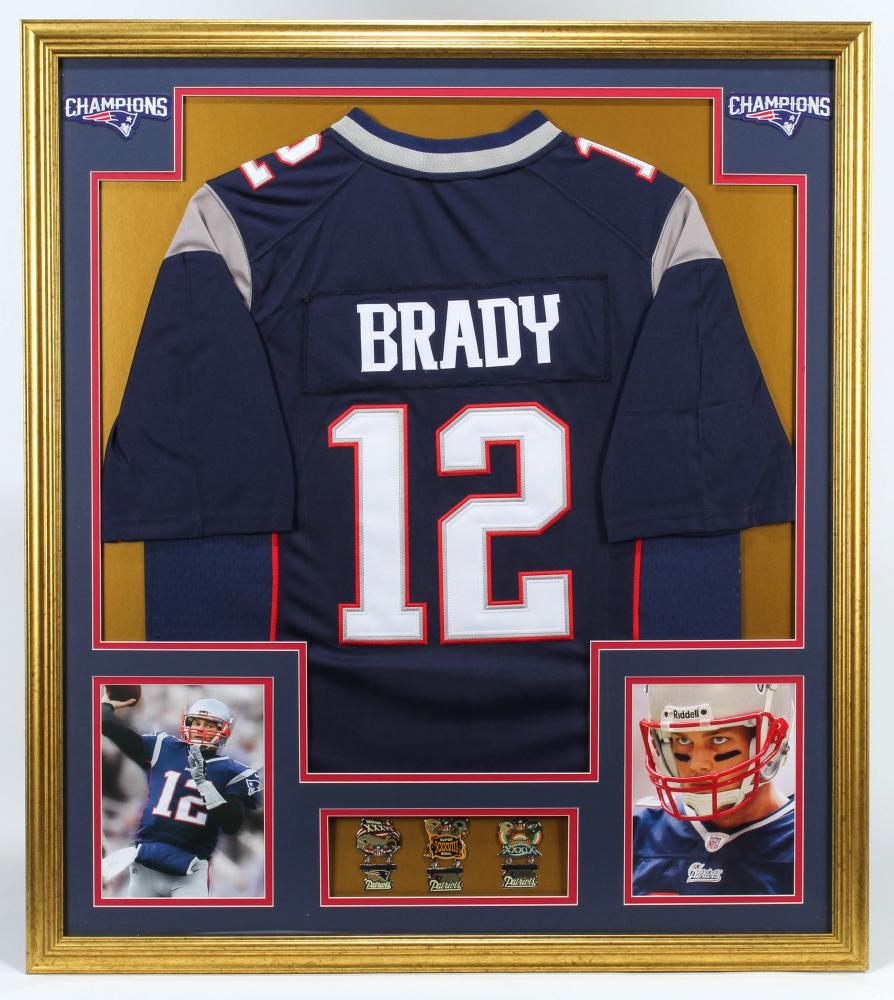 Tom Brady 32.75x36.75 Custom Framed Jersey Display with (3) Super ...