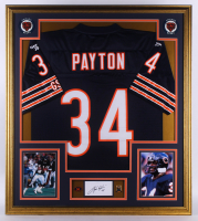 Walter Payton Signed 32.75x36.75 Custom Framed Cut Display With Hall of Fame Induction Pin & Jersey Number Pin (PSA) at PristineAuction.com