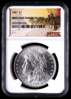 1887 Morgan Silver Dollar - Stage Coach Label (NGC Brilliant Uncirculated) at PristineAuction.com