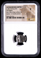 c.5th Century B.C. Achaemenid Empire - AR Siglos Silver Coin (NGC Fine) obv Hero King with Bow & Spear rv Incuse Punch at PristineAuction.com