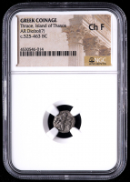 c.525-463 B.C. Greek Coinage - Thrace, Island of Thasos AR Diobol Silver Coin (NGC Choice Fine) at PristineAuction.com
