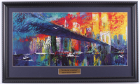 "LeRoy Neiman ""The Brooklyn Bridge"" 15x25 Custom Framed Print Display at PristineAuction.com"