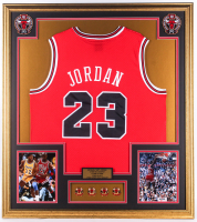 Michael Jordan 32x36 Custom Framed Jersey Display With (4) NBA Championship Pins at PristineAuction.com