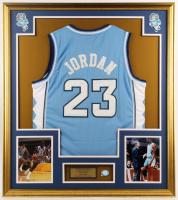 Michael Jordan 32.5x37 Custom Framed Jersey Display with North Carolina Tar Heels Pin at PristineAuction.com