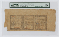 1777 Uncut Sheet of (3) Pennsylvania 3 Pence Colonial Currency Notes (PMG 15) at PristineAuction.com