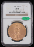 1911-D $20 Saint-Gaudens Double Eagle Gold Coin (NGC MS 65) at PristineAuction.com