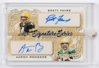 Brett Favre / Aaron Rodgers 2020 Leaf Signature Series Sports Dual Signatures Platinum Blue #SSD28 at PristineAuction.com
