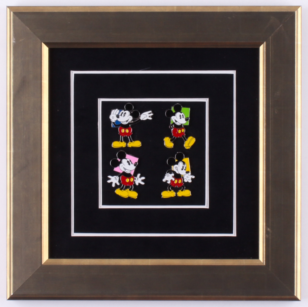 """Walt Disney's """"Mickey Mouse"""" 10.5x10.5 Custom Framed Limited Edition Art Pin Set Display at PristineAuction.com"""