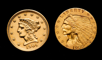 Lot of (2) $2.5 Quarter Eagle Gold Eagles with 1904 Liberty Head & 1908 Indian Head at PristineAuction.com