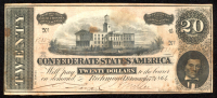 1864 $20 Ten Dollars Confederate States of America Richmond CSA Bank Note at PristineAuction.com