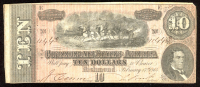 1864 $10 Ten Dollars Confederate States of America Richmond CSA Bank Note Bill at PristineAuction.com