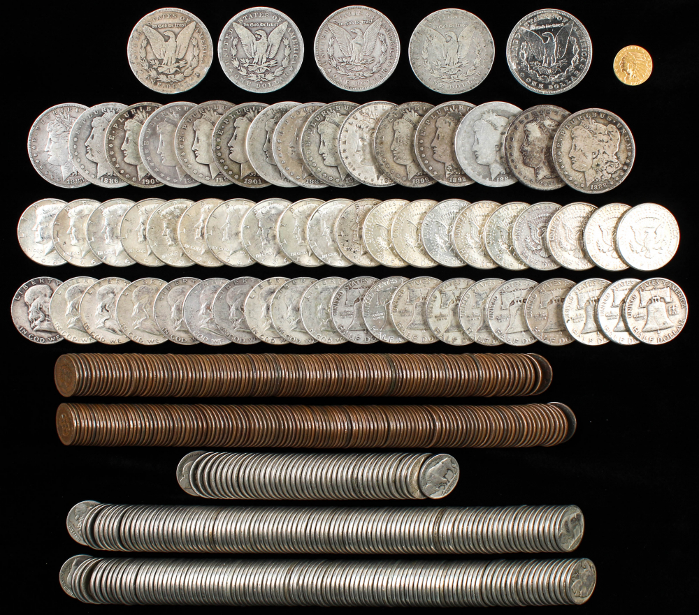 Lot of (561) Coins With (1) Indian Head Quarter Eagle Gold Coin, (20) Morgan Silver Dollars, (20) Franklin Silver Half Dollars, (20) Kennedy Silver Half Dollars, (250) Buffalo Nickels & (250) Indian Head Cents at PristineAuction.com