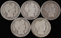 Lot of (5) 1899-1907 Barber Silver Half Dollars With 1899-O, 1899, 1907-O, 1908-O & 1909 at PristineAuction.com