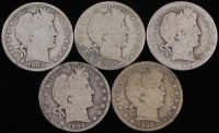 Lot of (5) 1894-1908 Barber Silver Half Dollars With 1894, 1902, 1906-S, 1908 & 1908-O at PristineAuction.com