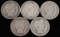 Lot of (5) 1904-1908 Barber Silver Half Dollars With 1904, 1904, 1906, 1908-O & 1908-O at PristineAuction.com