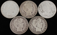 Lot of (5) 1907-1915 Barber Silver Half Dollars With 1907-O, 1907-O, 1909, 1911-S & 1915-S at PristineAuction.com