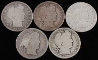 Lot of (5) 1896-1915 Barber Silver Half Dollars With 1896, 1898, 1901, 1906 & 1915-S at PristineAuction.com