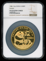 "1986 12oz .999 Fine Gold 1000 Yuan Chinese ""Panda"" Coin (NGC PF 66 Ultra Cameo) at PristineAuction.com"