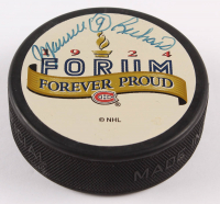 Maurice Richard Signed Canadiens Logo Hockey Puck (Beckett COA) at PristineAuction.com