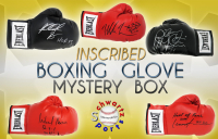 Schwartz Sports Fight Week Auction Series - Boxing Superstars Signed INSCRIBED Boxing Glove Mystery Box (Limited to 25) – 25 Different INSCRIPTIONS! at PristineAuction.com