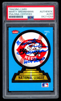 Marty Brennaman Signed Fleer Reds National League Sticker (PSA Encapsulated) at PristineAuction.com