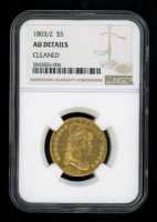 1803/2 $5 Turban Head Gold Half Eagle Five Dollar Coin (NGC AU Details) (Cleaned) at PristineAuction.com