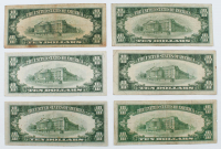 Lot of (6) $10 Ten-Dollar U.S. Silver Certificates with 1934, 1934-A Blue Seal, 1934-A North Africa Gold Seal, 1934-C, 1934-D, & 1953 at PristineAuction.com