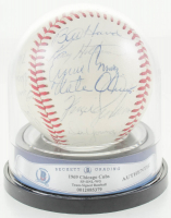 1969 Chicago Cubs ONL Baseball Signed by (25) with Fergie Jenkins, Ernie Banks, Leo Durocher, Ron Santo (BGS Encapsulated) at PristineAuction.com
