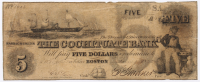 "1850 $5 Five-Dollar ""The Cohituate Bank"" Civil War Bank Note at PristineAuction.com"