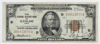 1929 $50 Fifty-Dollar U.S. National Currency Bank Note with Brown Seal - The Federal Reserve Bank of Cleveland, Ohio at PristineAuction.com