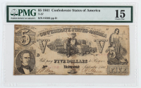 1861 $5 Five-Dollar Confederate States of America Richmond CSA Bank Note (PMG 15) at PristineAuction.com