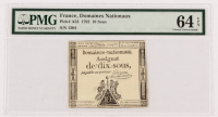 1792 France 10 Sous Domaines Nationaux Currency Note (PMG 64 EPQ) at PristineAuction.com