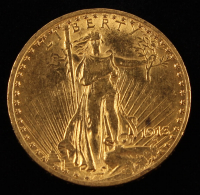 1913 $20 Twenty Dollar Saint-Gaudens Double Eagle Gold Coin at PristineAuction.com