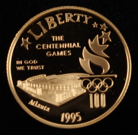 1995-W $5 Five Dollar Commemorative Olympic Stadium Gold Coin at PristineAuction.com