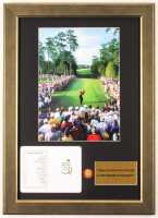 """Tiger Woods """"Masters"""" 15.5x21.5 Custom Framed Original Augusta National Score Card Display with Masters Pin at PristineAuction.com"""