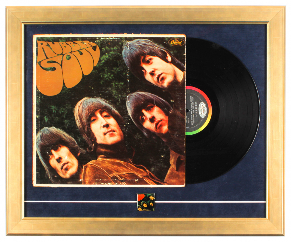 """The Beatles """"Rubber Soul"""" 18.5x22.5 Custom Framed Vinyl Record Display with Vintage Beatles Album Lapel Pin at PristineAuction.com"""