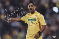 Ronaldinho Signed Brazil 12x18 Photo (PSA COA) at PristineAuction.com
