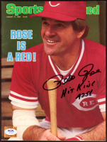 """Pete Rose Signed 1984 Sports Illustrated Magazine Inscribed """"Hit King"""" & """"4256"""" (PSA COA) at PristineAuction.com"""
