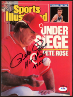 """Pete Rose Signed 1989 Sports Illustrated Magazine Inscribed """"Hit King"""" & """"4256"""" (PSA COA) at PristineAuction.com"""