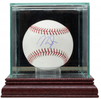 Mike Trout Signed OML Baseball with Glass Display Case (MLB Hologram) at PristineAuction.com