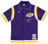 """Magic Johnson Signed Lakers Warm-Up Jersey Inscribed """"HOF 02"""" (Beckett COA) at PristineAuction.com"""