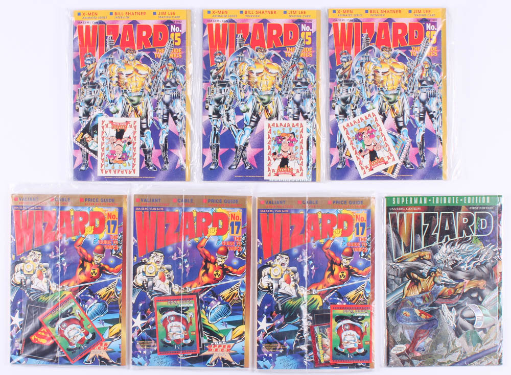 "Lot of (7) 1992-1993 ""Wizard"" Wizard Press Comic Books And Packaged Cards With #15, #15, #15, #17, #17, #17, & Tribute First Edition at PristineAuction.com"