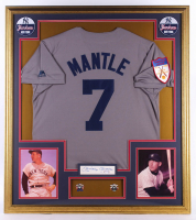 Mickey Mantle Signed 32x36 Custom Framed Cut Display with (2) Yankees World Series Champions Pins & a 1951 Rookie Yankees Replica Jersey (PSA LOA) at PristineAuction.com
